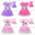 Платья для девочек; Летнее хлопковое платье принцессы Софии с принтом из мультфильма; Детские кружевные рождественские костюмы с короткими...