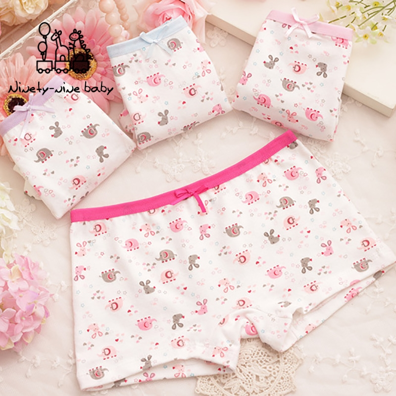 4Pcs/lot Baby Girls Cotton Panties Lovely Cartoon Baby Elephant Print Underpants For Girls Kids Underwear Girls Safety Panties