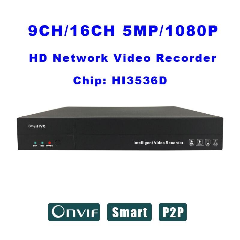 16CH POE NVR 1080P 5MP Full HD Network Video Recorder Audio H.264 ONVIF P2P HDMI