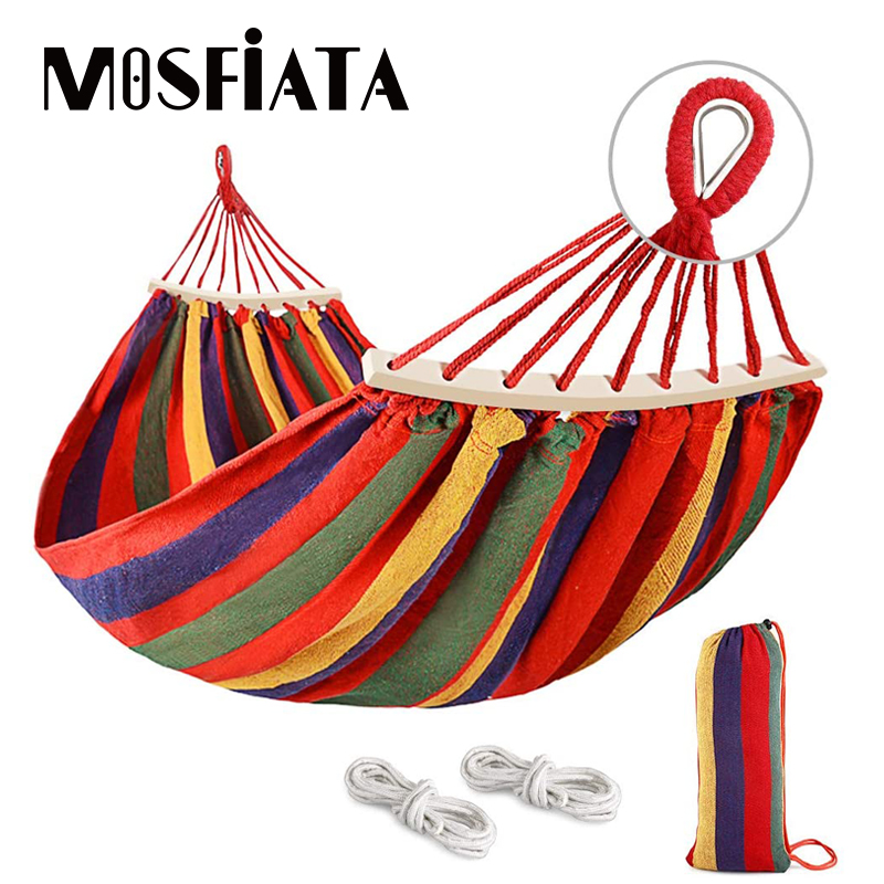 MOSFiATA Camping Hammock With Thickened 320G Durable Canvas Fabric Sturdy Metal Knot Tree Straps Hanging Chair Garden Furniture