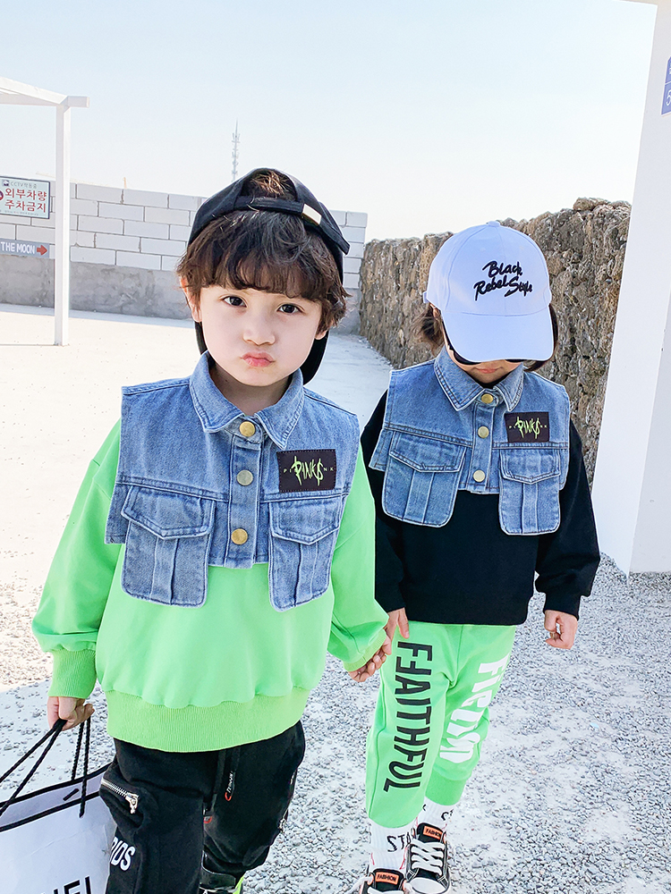 Boys Western Style Sweater Children Tops Tide Paragraph Children Baby 2020 Spring New  Boy Korean Version of Spring 2