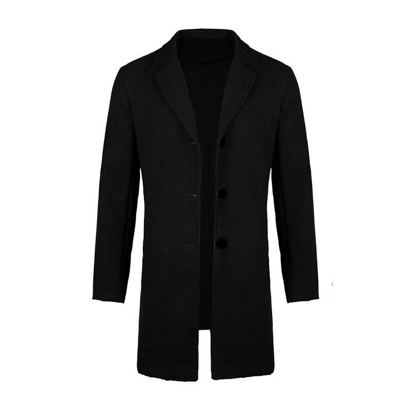 2019 Winter Wool Jacket Men's High-quality Wool Coat Casual Slim Collar Woolen Coat Men's Long Cotton Collar Trench Coat 15