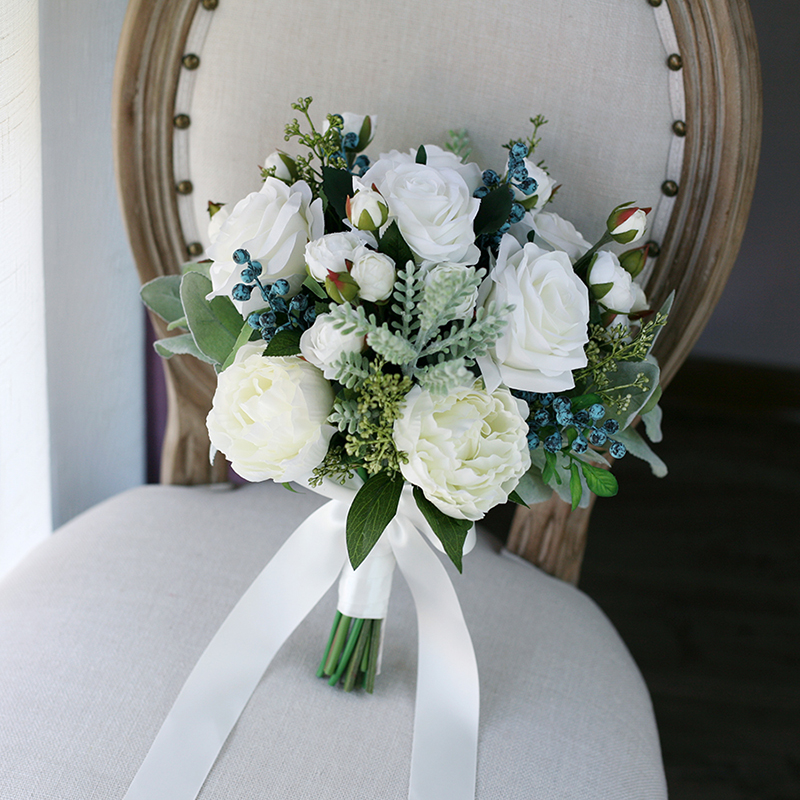 HIMSTORY Romantic Wedding Bouquet White Roses Flowers Green Leaves Silk Roses Boho High Simulation Bouquet Wedding Accessorie