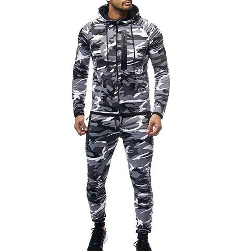 Sport Camouflage Tracksuit Men Set Sweatshirt 2019 Camo Printed Tracksuit Men Big Sizes Men's Clothing Soft Autumn Winter Coat