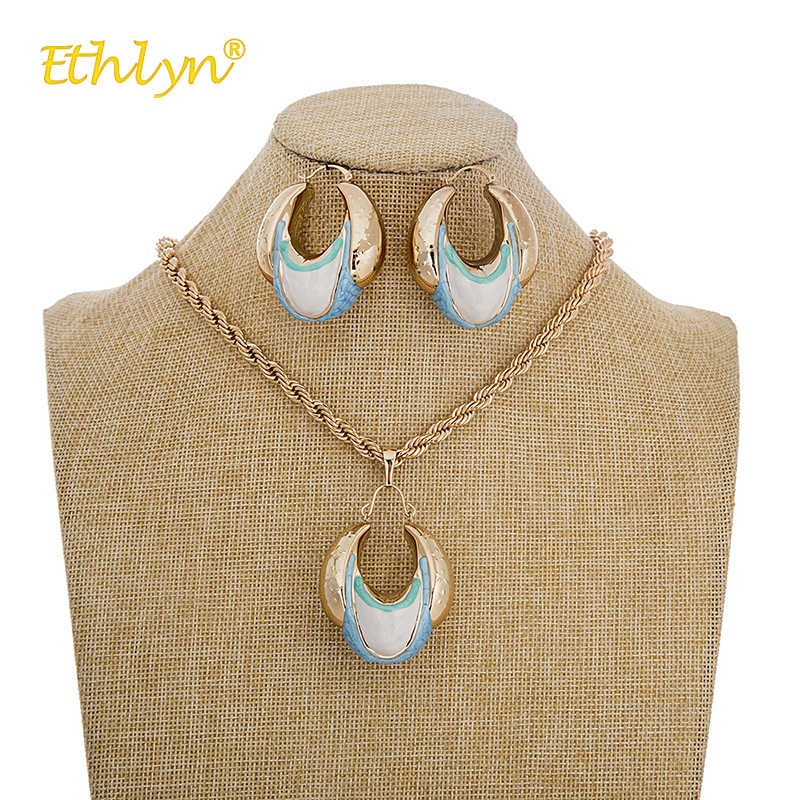 Ethlyn Nigerian/African Jewelry Set for Women Colorful Drip Oil Spiral Pendant Adornment Jewelry Woman Earrings Necklace Party