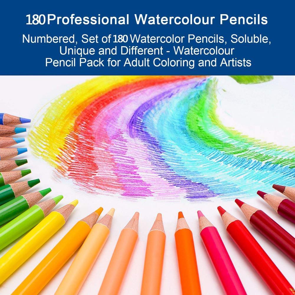 Lápices de acuarela de 180 colores para dibujar, colorear y dibujar - 2