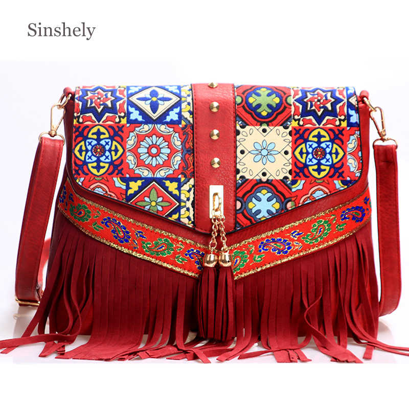 Red Tassel Shoulder Bags For Women 2019 Big Tassel Messenger Bag Cool Ladies Cross Body Bag
