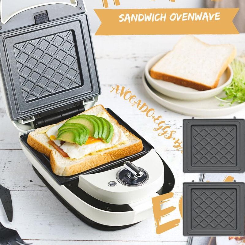 220V Electric Sandwich Maker Timed Waffle Maker Breakfast Waffle Machine Multifunction Toaster Baking  Takoyaki Pancake 600W