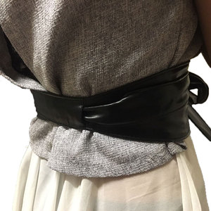 Image 2 - lace up pu leather wide corset cummerbunds strap belts for women girls High Waist Slimming girdle Belt ties bow bands VKAC1002