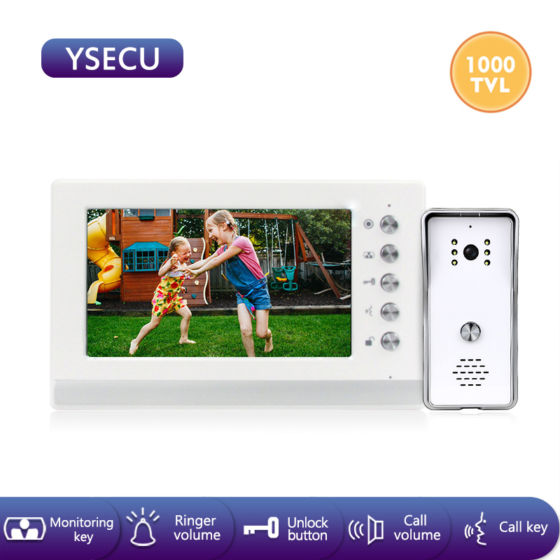 YSECU 7 дюймов 1000TVL HD видеодомофон комплект для домашней безопасности, видеодомофон с замком, видеодомофон