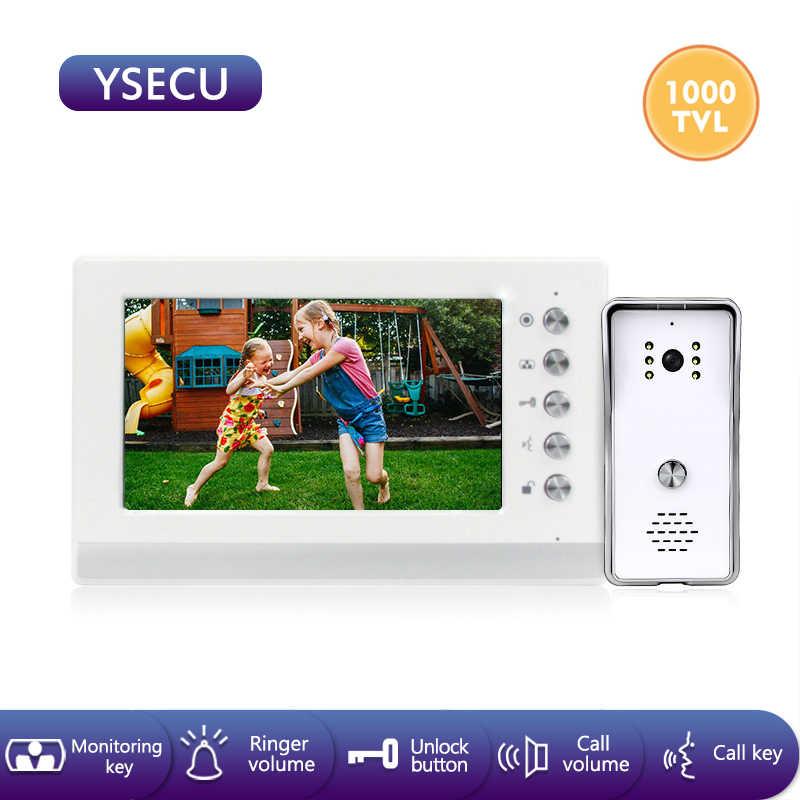 YSECU 7 بوصة 1000TVL HD فيديو إنترفون عدة للأمن المنزلي ، فيديو باب الهاتف مع قفل ، فيديو إنترفون