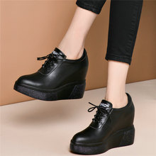 fashion sneakers women lace up genuine leather wedges high heel vulcanized shoes female square toe platform pumps casual shoes Fashion Sneakers Women Lace Up Genuine Leather Wedges High Heel Vulcanized Shoes Female Pointed Toe Pumps Shoes Casual Shoes New