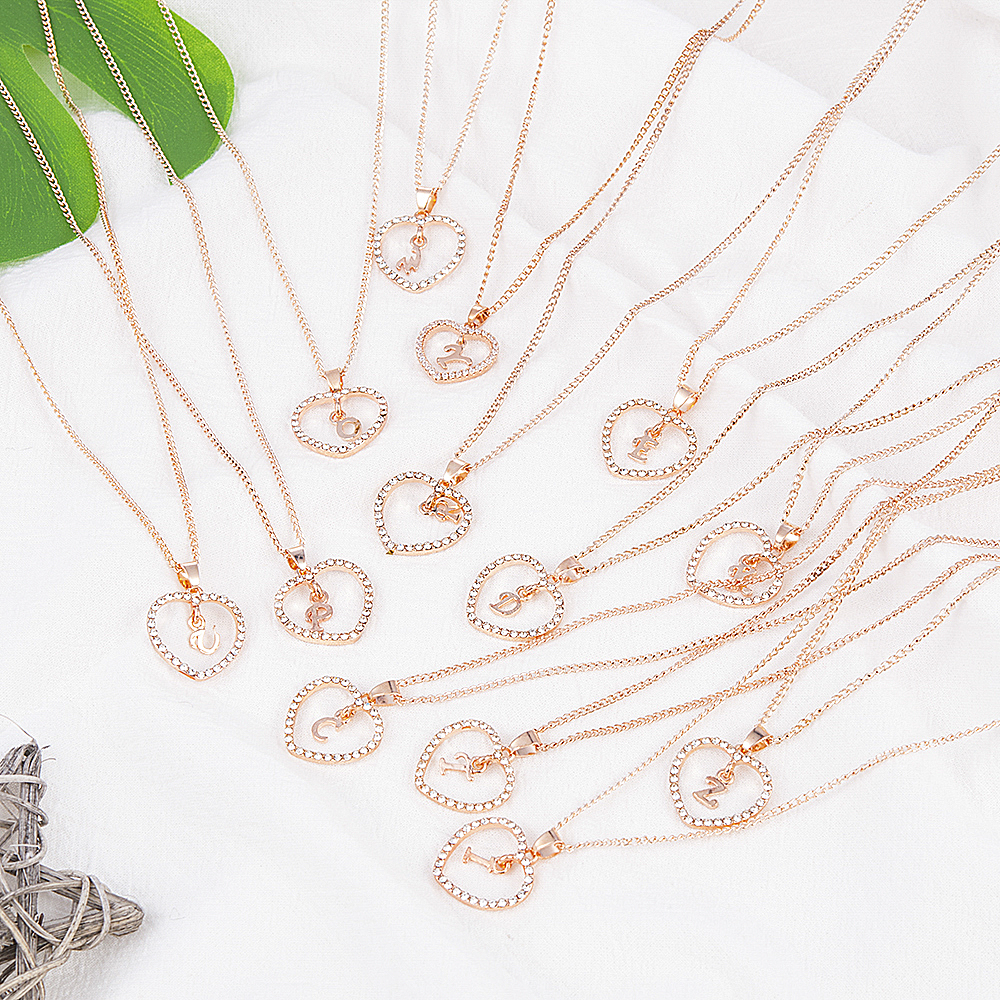 Romantic Love Pendant Necklace For Girls 2019 Women Rhinestone Initial Letter Necklace Alphabet Gold Collars Trendy New Charms 2