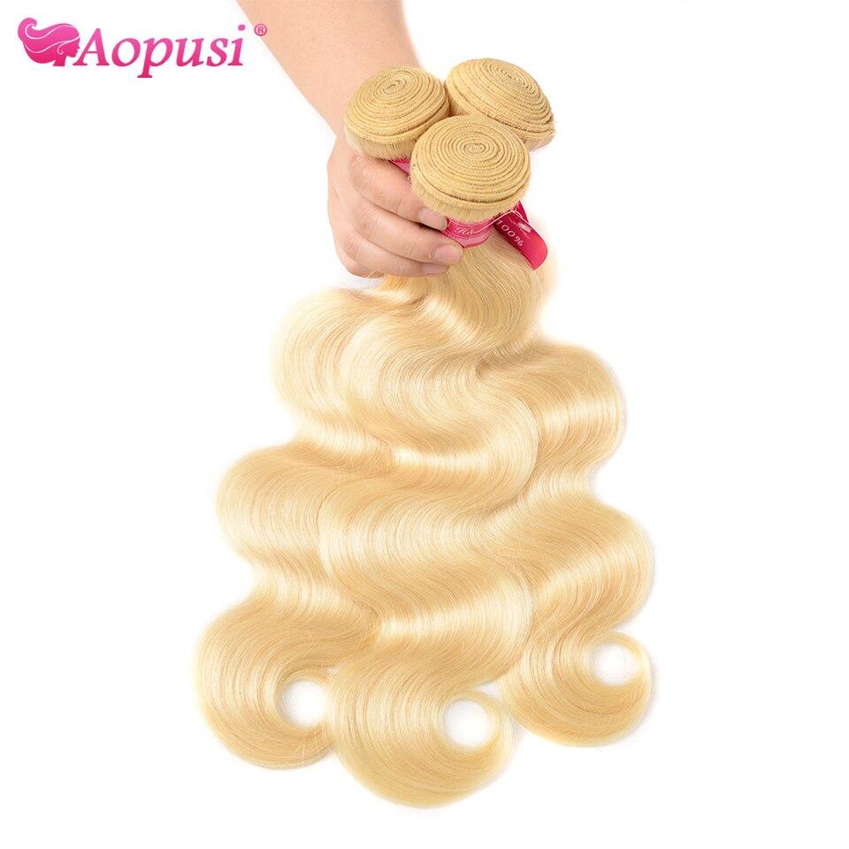 Aopusi 613 волнистые пряди перуанские человеческие волосы пряди 613 светлые волосы пряди натуральных человеческих Волосы Remy наращивание 1/3/4/за ш...