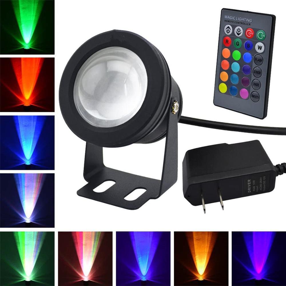 IP68 US Plug 12v underwater RGB Led Light Waterproof  fountain pool Lamp Lights with 2.2m waterproof power cord Flood Light 10W
