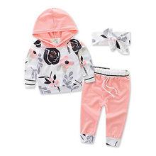 цена на 3pcs  New autumn baby girl Boys clothes set Newborn Baby Boy Girl Warm Hooded Coat Tops+Pants Outfits Sets