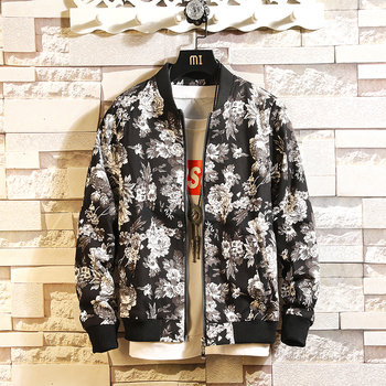 2019 New Arrival Floral Spring Jacket Men Streetwear Bomber Jacket and Coat Windbreaker Clothes Men's Jacket Coat XXXL