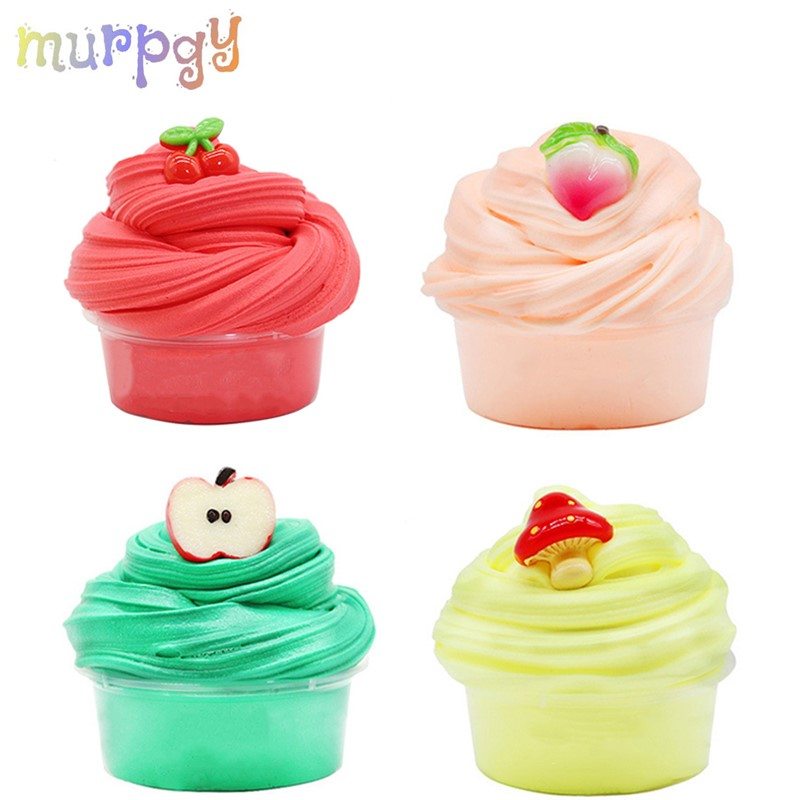 60ML New Fruit Fluffy Slime Supplies Toys Polymer Putty Diy Soft Clay Light Plasticine Slime Charms Gum Antistress Set Playdough
