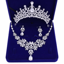 Jewelry Tiara-Crown Wedding-Necklace Earrings Three-Sets Temperament Bride American European