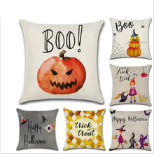 Halloween Witch Pumpkin Pillowcases Seat Sofa Pillow Cover Linen Cotton Square Green Cushion Cover for Home Decoration