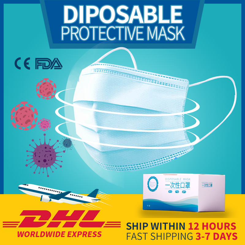 DHL Free Shipping Safety Disposabe Protective Mask Anti-dust Pollution 3 Layer Face Mask Non-woven Breathable Mouth Mask