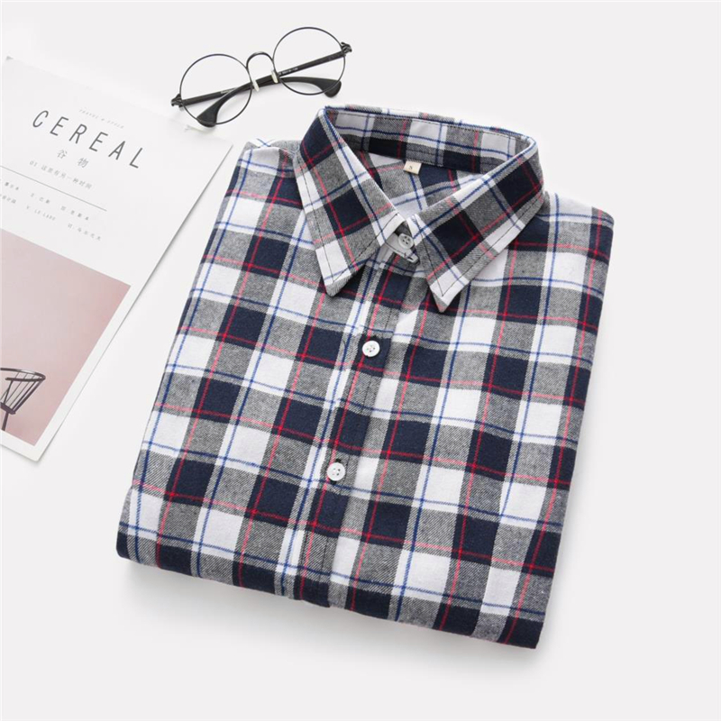 2020 New Women Blouses Brand New Excellent Quality Cotton 32style Plaid Shirt Women Casual Long Sleeve Shirt Tops Lady Clothes 25