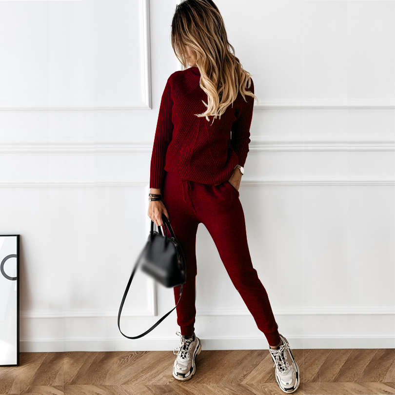 TYHRU Autumn Winter Women's tracksuit Solid Color Striped Turtleneck Sweater and Elastic Trousers Suits Knitted Two Piece Set 6