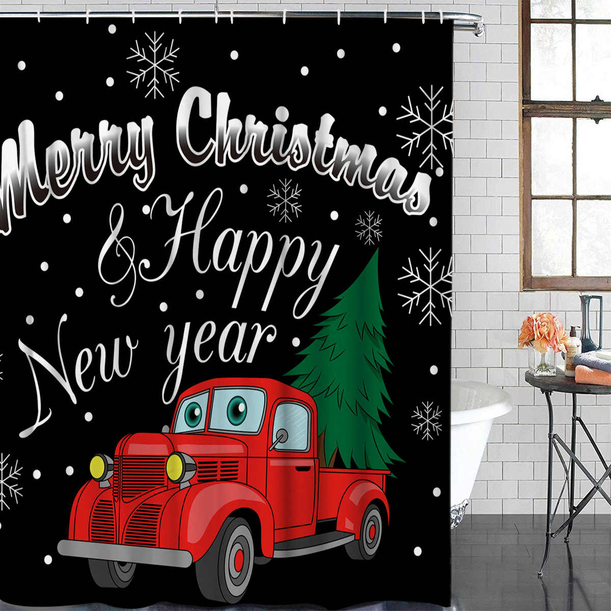 Christmas Theme Christmas Pickup Truck Pattern Bathroom Shower Curtain Decor with Hooks Waterproof