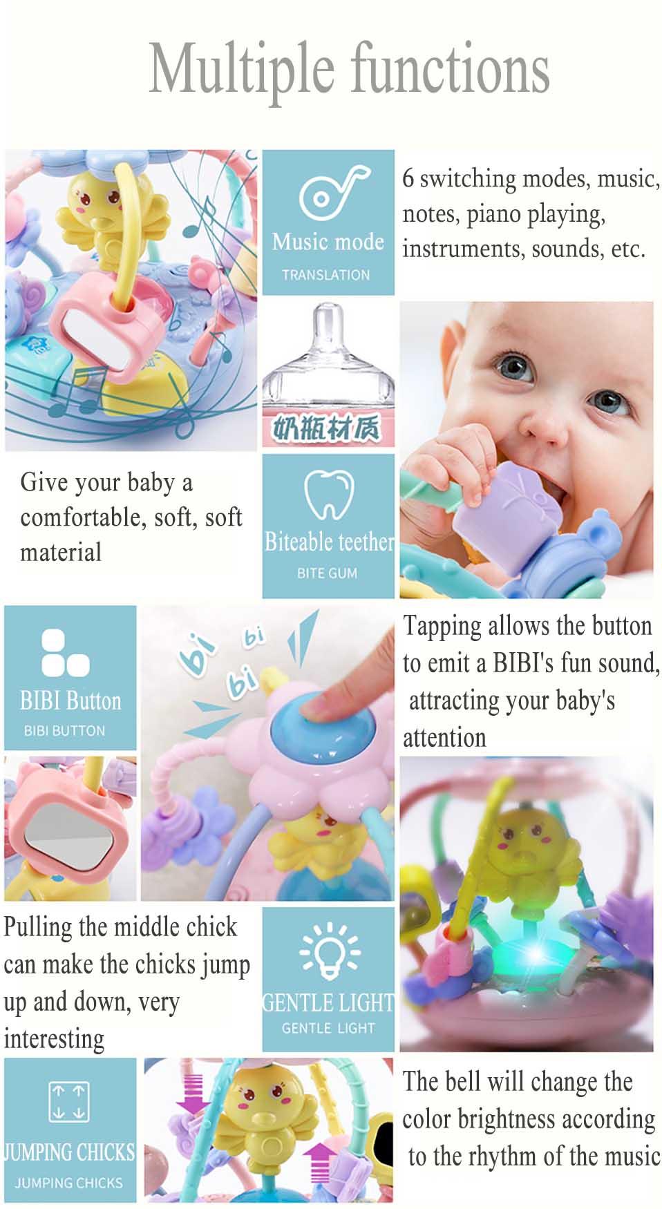Brinquedos do bebê mão tambor móvel do