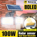80 светодиодный настенный светильник на солнечной батарее с двойной головкой, радарный датчик, COB настенный светильник, точечный светильник ...