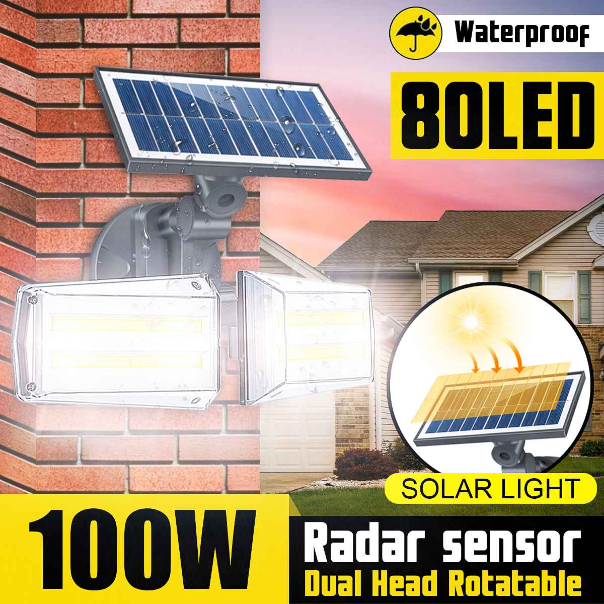 80LED Dual Head Solar wall Light Radar Sensor COB wall lamp Spotlight Outdoors Solar Garden Light Yard 100W LED Lamp Waterproof