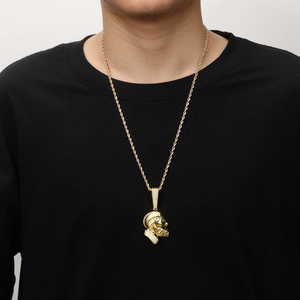 Image 3 - TOPGRILLZ collier et pendentif Nipsey, R.I.P Nipsey, avec chaîne de Tennis glacée, en Zircon cubique brillant, bijoux Hip Hop pour hommes