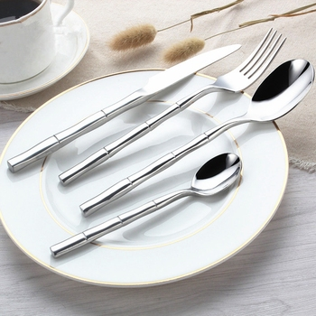 24Pcs/Sets Stainless Steel Bamboo Cutlery Set Tableware Dinnerware Mirror Polish Silver Cutlery Dinner Knives Forks