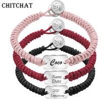 Custom Name DIY Bracelet Women Personalized Engraved Letter Rectangle Pendant Stainless Steel Red Black Rope