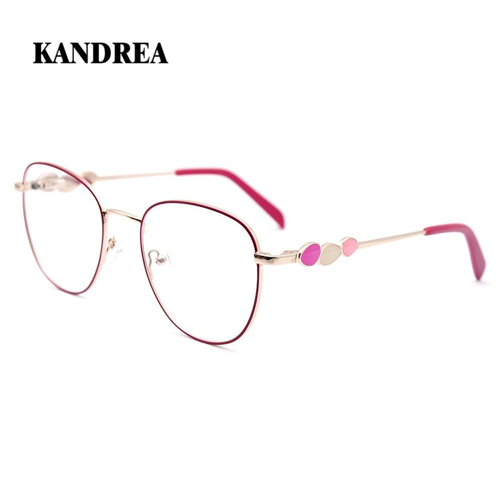 KANDREA 2020 Fashion New Women Eyeglasses Round Metal Novel Temples Glass Frame Optical Eyewear Prescription Myopia Spectacles(China)