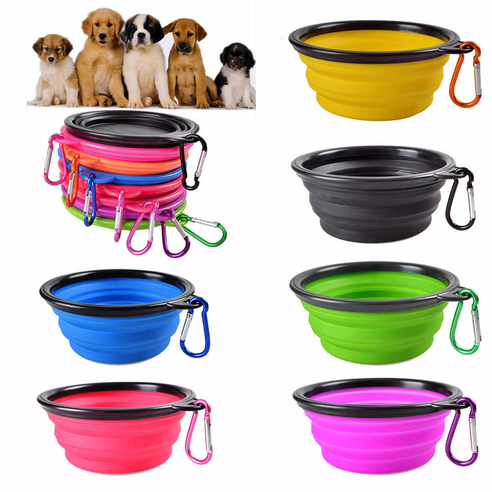 Bacia do cão, Animal de Estimação Do Gato Do Cão Tigela De Viagem Dobrável de Silicone Dobrável de Alimentação de Água Dish Feeder portátil tigela de água para animais de estimação