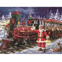 Full Round Drill DIY 5D Diamond Painting Kit Christmas Train Embroidery Mosaic Decorations