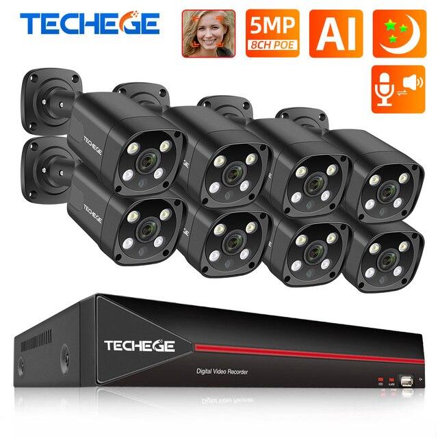 Techege 8CH 5MP POE AI système de caméra de sécurité CCTV Kit de détection de visage deux voies Audio caméra de Surveillance vidéo extérieure Kits P2P