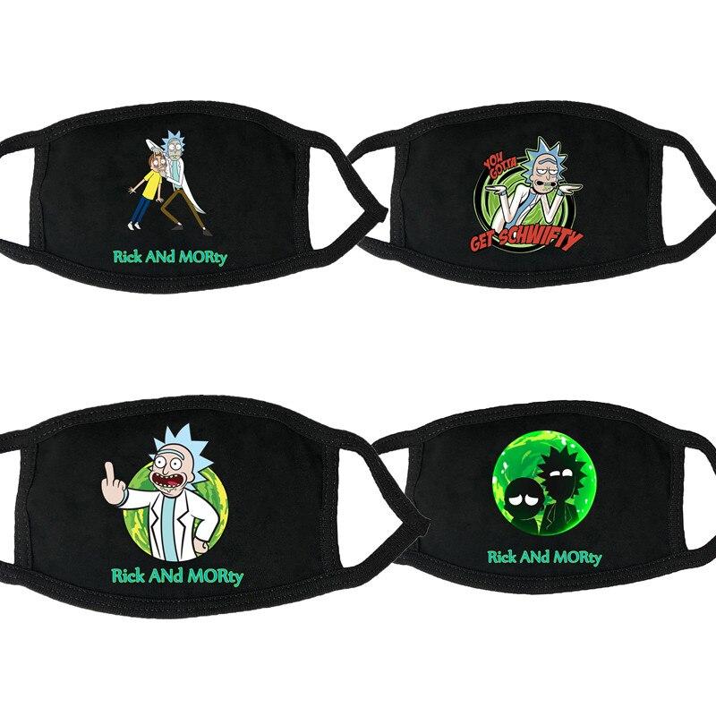 Rick And Morty Masks Dustproof Face Mask Washable Rick E Morty Funny Hip Hop Anime Mask Cartoon Cosplay Costume Accessory Black