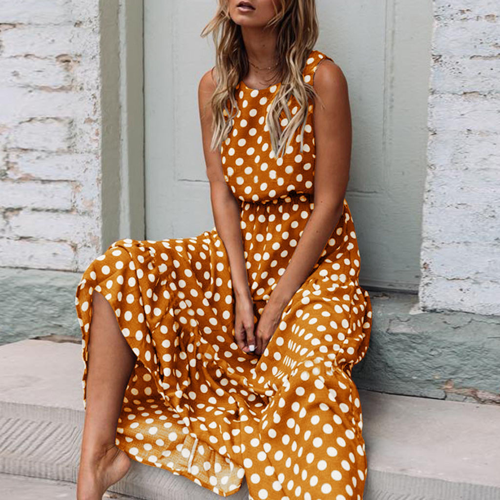40# Summer Beach Dress Women's Fashion Simple Casual Sexy Polka Dot Print Sleeveless O neck Long Dress Beach Dress Платье