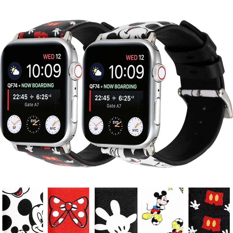 New Leather Disney  Band For Apple Watch 38MM 40MM 42MM 44MM Strap Bracelet For IWatch Series 5 4 3 2 1 Watchband Accessories