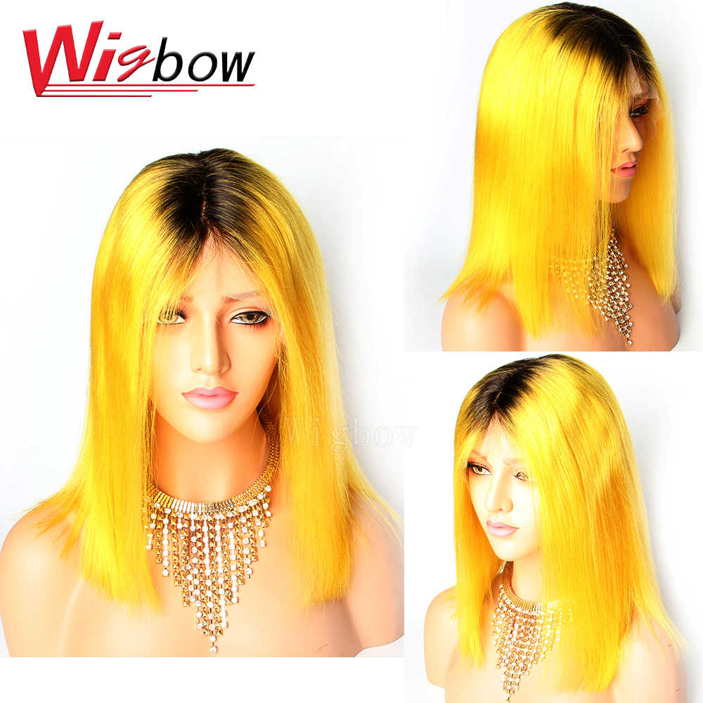 1B Yellow Bob Lace Front Wig Human Hair with Baby Hair 13X6 Preplucked Brazilian Remy Hair Wig 10-14 Inch 150 Density For Women