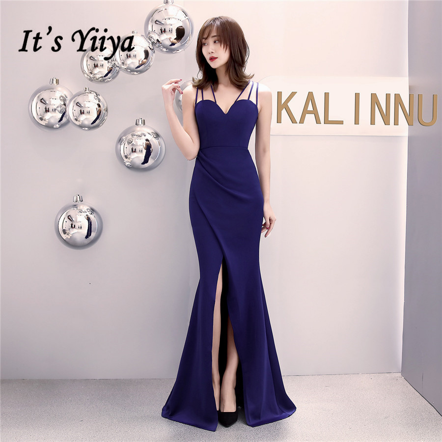 Sexy Sling Evening Dress It's Yiiya DX340 Pleat V-Neck Mermaid Split Special Occasion Dresses Floor-Length Abendkleider