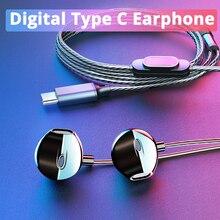 Langsdom цифровые наушники type C с микрофоном Hifi Бас-гарнитура для samsung, наушники для Auriculare Xiaomi USB C Phone