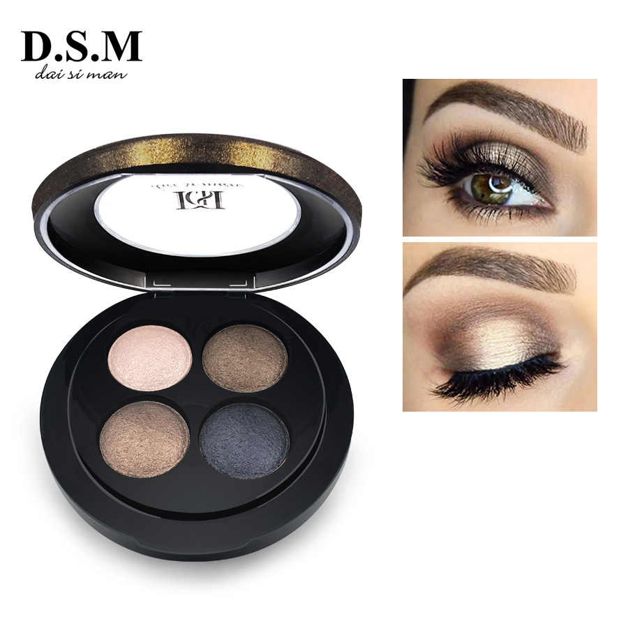 D.s.m Baru Mineralize Eyeshadow 4 Warna Tahan Air Eye Shadow Makeup Logam Bercahaya Makeup Warna Eyeshadow Pallet