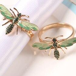 10 pièces la nouvelle abeille serviette boucle serviette anneau alliage vert insecte libellule goutte à goutte diamant boucle serviettes en papier,