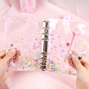 Милый Блестящий Прозрачный чехол для ноутбука A5 A6 с 6 отверстиями 10 шт. сумки для хранения альбомов и страниц