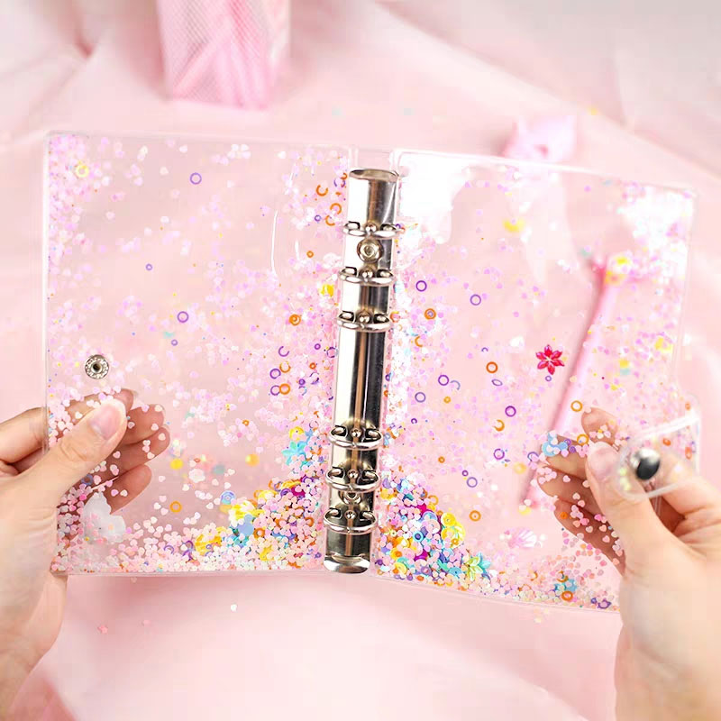 Cute Glitter Sequins Transparent A5 A6 6 Holes Loose-Leaf Notebook Case 10Pcs Storage Bags Album Page Collecting Ring Binder