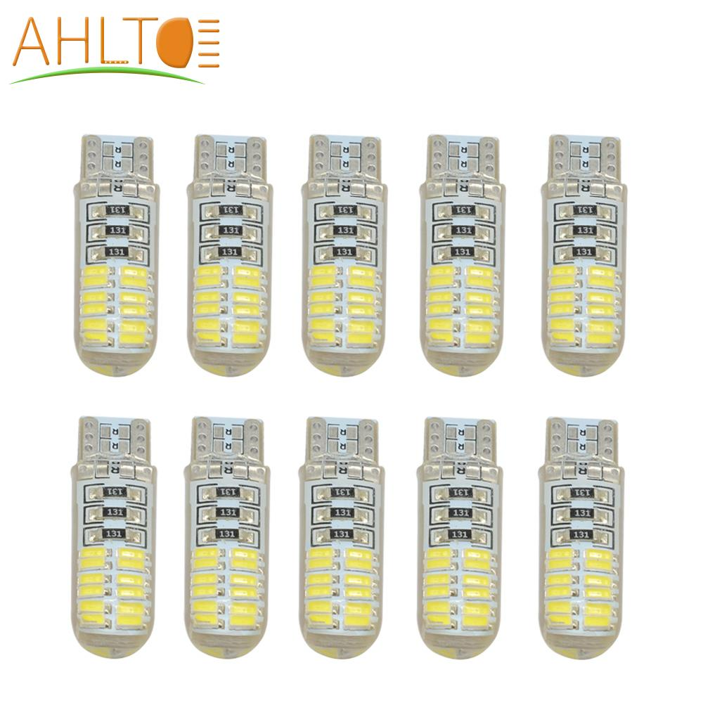 10PCS T10 <font><b>W5W</b></font> DC <font><b>12V</b></font> Canbus Free 4014 24SMD Silicone Shell Car <font><b>LED</b></font> Lights Bulb No Error <font><b>Led</b></font> Parking Fog Light Auto Car Styling image