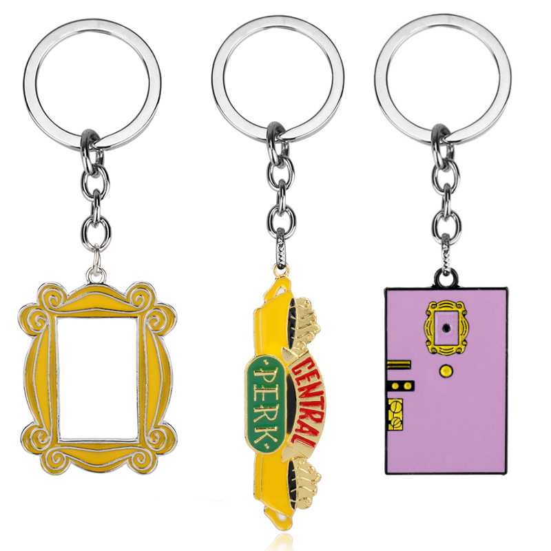 Friends TV Show Keychain Central Perk Coffee Time Photo Frame Pendant Key Chain For Best Friend Car Keyring Llavero Jewelry Gift